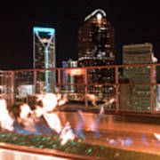 Charlotte North Carolina Skyline View At Night From Roof Top Res Art Print