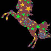 Rainbow Spiral Star Unicorn Design Poop Emoji Art Print