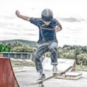 skate park day, Skateboarder Boy In Skate Park, Scooter Boy, In, Skate Park Art Print
