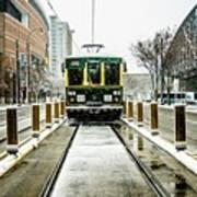 Streetcar Waiting For Passengers In Snowstrom In Uptown Charlott Art Print
