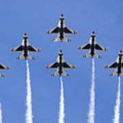 Us Air Force Thunderbirds Flying Preforming Precision Aerial Maneuvers Art Print