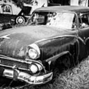 Vintage Autos In Black And White Art Print