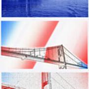 1000 Island International Bridge Triptych Art Print