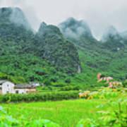 Karst Mountains Rural Scenery Art Print
