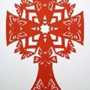 Red Butterfly-cross Art Print