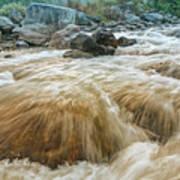 River Water Flowing Through Rocks At Dawn Art Print