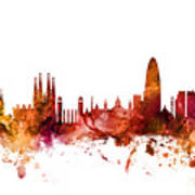 Barcelona Spain Skyline Art Print