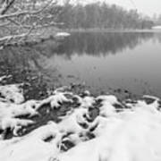 Snow Covered Landscapes In Belmont North Carolina Along Catawba  Art Print