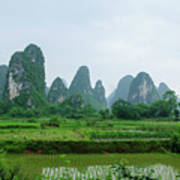 The Beautiful Karst Rural Scenery In Spring Art Print