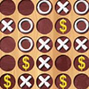 Tic Tac Toe Wooden Board Generated Seamless Texture Art Print