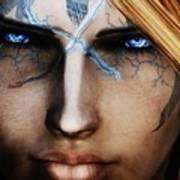 120941 The Elder Scrolls V Skyrim Wizard Blue Eyes Art Print