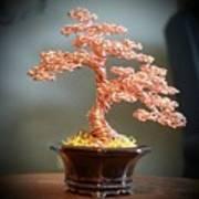 #129 Copper Wire Tree Sculpture Art Print