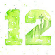 12th Man Seahawks Art Go Hawks Art Print