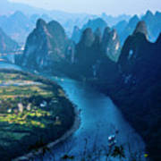 Karst Mountains And Lijiang River Scenery Art Print