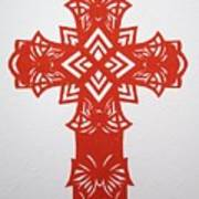 Red Butterfly-cross Art Print