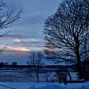 Sunset Over Obear Park In Snow Art Print