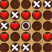 Tic Tac Toe Wooden Board Generated Seamless Texture Art Print