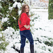Beautiful Young Girl Model In Winter In A Parked Park. In A Red Sweater. Art Print