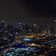Chicago Night Skyline Aerial Photo Art Print