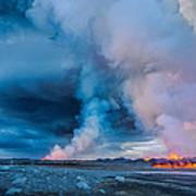 Volcano Eruption At The Holuhraun Art Print