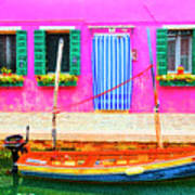 Burano Anisland Of Multi Colored Homes On Canals North Of Venice Italy Art Print