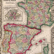 1800s France, Spain And Portugal County Map Color Art Print