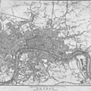 1800s London Map Black And White London England Art Print