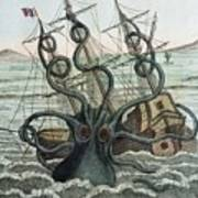 1815 Collosal Polypus Octopus And Ship Art Print by Paul D Stewart