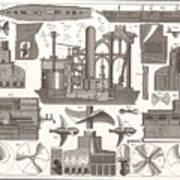 1850 Construction Of Steam Ship Art Print
