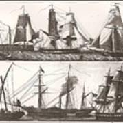 1850 European Sailing Ship Art Print