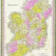 1850 Vintage Map Of Ireland Art Print