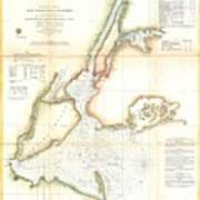 1857 Coast Survey Map Of New York City And Harbor Art Print