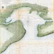 1857  Coast Survey Map Of St. Louis Bay And Shieldsboro Harbor, Mississippi  Art Print