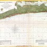 1857 U.s. Coast Survey Map Or Chart Of Mississippi City Harbor, Mississippi Art Print