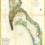 1857 U.s.c.s. Map Of San Diego Bay, California Art Print