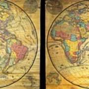 1858 Set Of Two Pelton Wall Maps, Western Hemisphere And Eastern Hemisphere  Art Print