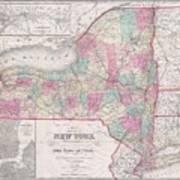 1858 Smith - Disturnell Pocket Map Of New York Art Print