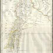 1859 Alabern Map Of Israel, Palestine, Or Holy Land And Syria In Ancient Times Art Print