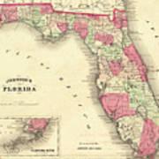 1864 Florida Map Color Art Print