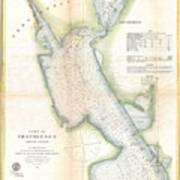1865 Us Coast Survey Map Or Chart Of Providence Rhode Island Art Print