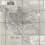 1866 Fornari Pocket Map Or Case Map Of Rome Italy Art Print