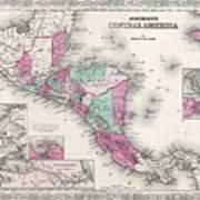 1866 Johnson Map Of Central America Art Print