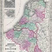 1866 Johnson Map Of Holland And Belgium Art Print