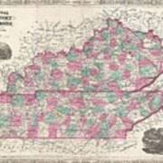 1866 Johnson Map Of Kentucky And Tennessee  Art Print