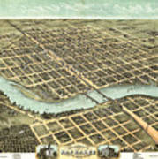 1869 Map Of Kankakee Art Print
