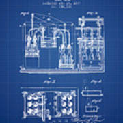 1877 Bottling Machine Patent - Blueprint Art Print