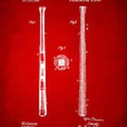 1885 Baseball Bat Patent Artwork - Red Art Print