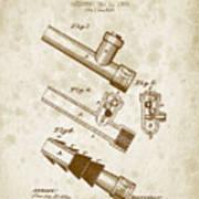 1885 Fire Escape Patent - Vintage Brown Art Print