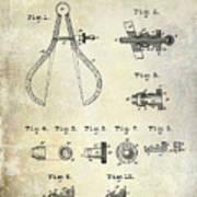 1886 Caliper And Dividers Patent Art Print