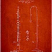 1887 Metronome Patent - Red Art Print